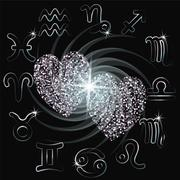 Love horoscope sparkling hearts zodiac. Vector Stock Illustration