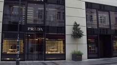 VIENNA, AUSTRIA Steadicam shot of big Prada store. Italian luxury Stock Footage