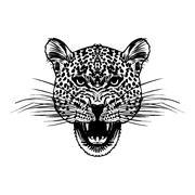 Leopard face tattoo ,Vector illustration, print Stock Illustration