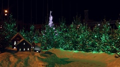 Decorated christmas trees and miniature houses Arkistovideo
