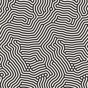 Organic Irregular Rounded Lines. Vector Seamless Black and White Pattern Stock Illustration