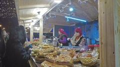 The bake shop at the Christmas Market offers tasty pies and cakes Stock Footage