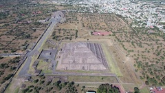 Aerial view of Teotihuacan, aztec pyramid - Mexico City Stock Footage