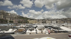 Cloudy weather italian city Naples sea boats buildings Stock Footage