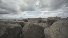 Cloudy weather italian city sea rocks slow motion Stock Footage
