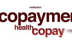Copayment animated word cloud, text design animation. Stock Footage