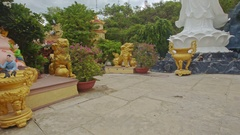 Panorama of Different God Statues on Buddhist Temple Square Stock Footage