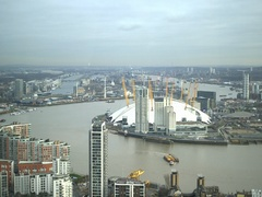 Aerial view on Thames River and North Greenwich, London Stock Footage