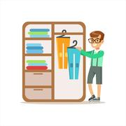Boy Ranging Clothes In Dresser Smiling Cartoon Kid Character Helping With Stock Illustration
