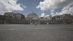 Italy Naples Piazza del Plebiscito Basilica slow motion summer Stock Footage