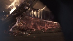 Retro oven fire in slow motion Stock Footage