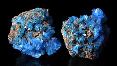 Blue mineral crystals Covellite Stock Photos