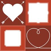 Vector frame and border, valentine theme, flat design, no gradient Stock Illustration