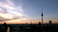 Berlin skyline at evening time Stock Footage