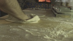 Italian real pizza cooking with flour Stock Footage
