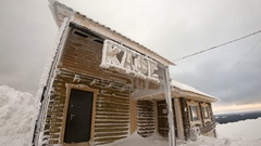 Frozen wooden cafe Stock Footage