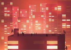 Modern Urban Cityscape scene with Building Silhouettes, Towers and Rooftop .. Stock Illustration