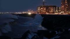 Storm surge powerful breaker waves crashing into barrier, Reykjavik Iceland Stock Footage