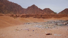 Garbage in the Desert of Egypt Stock Footage