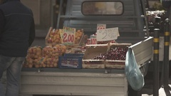Italian city with fruits on a truck in slow motion Stock Footage