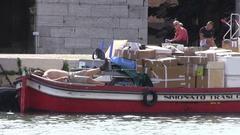 Man sleeping on boat Stock Footage