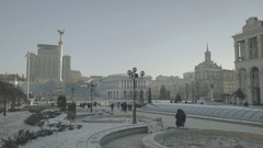 Kiev. Ukraine. The center of the city. Independence square in the winter. Stock Footage