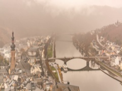 View over Cochem on a rainy day blurred background Stock Footage