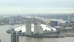 Aerial view on Thames River and North Greenwich Stock Footage