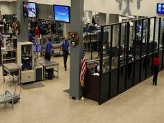 Security TSA check Salt Lake City international airport DCI 4K Stock Footage