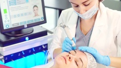 Cleaning the skin with rejuvenating effect. Cosmetic serum vacuum cleaning. A Stock Footage