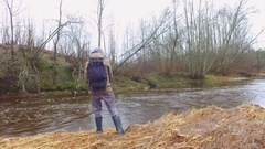 Slow motion footage. Man fishing. Stock Footage