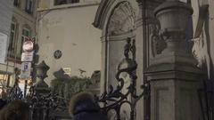 BRUSSELS, BELGIUM – Manneken Pis, Night Stock Footage