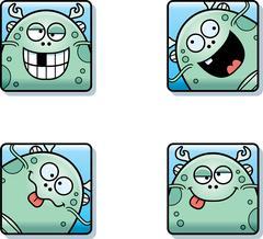 Silly Cartoon Sea Monster Icons Stock Illustration