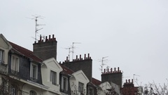 Still shot on tv antennas and chimneys Stock Footage
