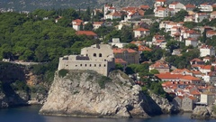 Wide view to fort Lovrijenac or St. Lawrence Fortress, Dubrovnik Stock Footage