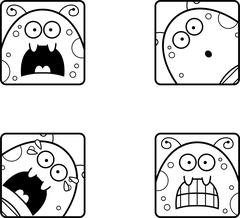 Scared Cartoon Fly Icons Stock Illustration