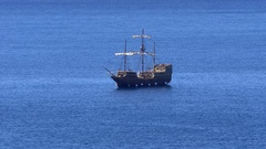 Huge wooden sailing ship on sea Stock Footage