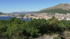 Distant Dubrovnik seen from Lokrum island Stock Footage