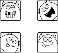 Silly Cartoon Devil Icons Stock Illustration