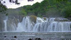 Main big waterfall in Krka national park Stock Footage
