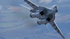 Combat Aircrafts of Cold War in Flight. MiG 29 Air to Air 4K UltraHD Stock Footage