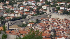 Dobrovnik old town framed by city walls and overlooked by Minceta Tower Stock Footage