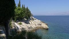 Beautiful perfect promenade path on Croatian coast Stock Footage