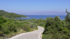 Lonley small country street on Peljesac peninsula surrounded by beautiful nature Stock Footage