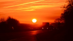 Time lapse traffic on dual carriageway at sunset united kingdom Stock Footage