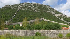 Great Walls of Ston and mountain in Ston, Croatia Stock Footage
