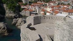 Looking down to fort Bokar tower in Dubrovnik Stock Footage