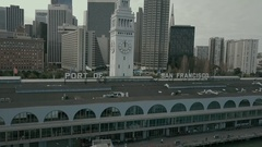 Aerial Drone Ferry Building Crane Tracing Up Stock Footage