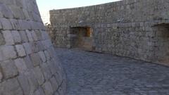 Tracking shot inside Minceta Tower, Dubrovnik, Croatia Stock Footage