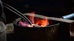 Heating the silver piece for further procesing Stock Footage